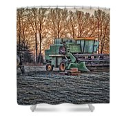 A Frosty John Deere Turbo 7700 Combine Shower Curtain