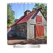 A Garden Barn Shower Curtain