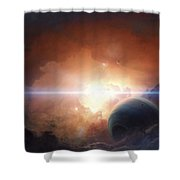 A Gas Giant Partly Hidden In A Nebula Shower Curtain