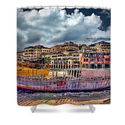 A Genesis Sunrise Over The Old City Shower Curtain by Ronsho