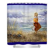 A Girl And The Ocean Shower Curtain
