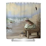 A Girl Posed By The Seashore Victoria Shower Curtain