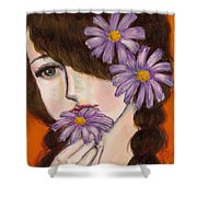 A Girl With Daisies Shower Curtain