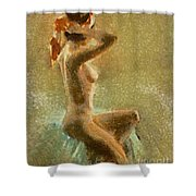 A Girl With Red Skarf Shower Curtain