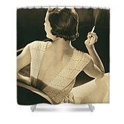 A Glamourous Woman Smoking Shower Curtain