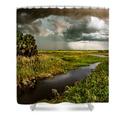 A Glow On The Marsh Shower Curtain