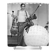 A Golfer With A Giant Ball Shower Curtain