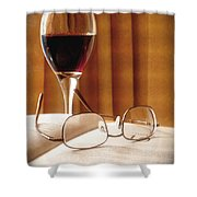A Good Book And A Glass Of Wine Shower Curtain by Lucinda Walter