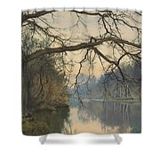 A Great Tree On A Riverbank Shower Curtain