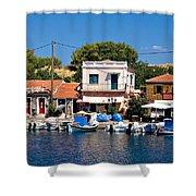 A Greek Island Harbor Shower Curtain