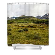A Group Of Hikers Walk Shower Curtain