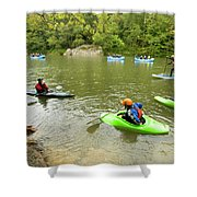 A Group Of Kayakers, Rafters Shower Curtain