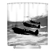 A Group Of P-40 Warhawks Fly Shower Curtain