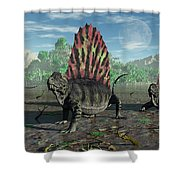 A Group Of Sail-backed Dimetrodons Shower Curtain