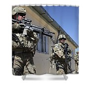A Group Of U.s. Army Soldiers Provide Shower Curtain