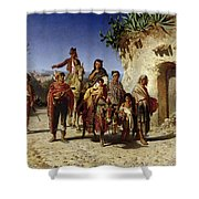 A Gypsy Family On The Road, C.1861 Oil On Canvas Shower Curtain