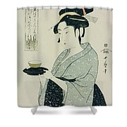 A Half Length Portrait Of Naniwaya Okita Shower Curtain
