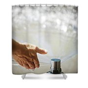 A Hand In A Playground Sprinkler Shower Curtain
