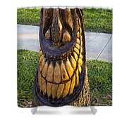 A Happy Tiki From A Palm Tree Stump Shower Curtain
