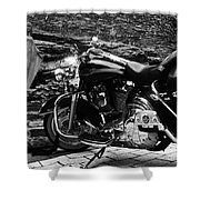 A Harley Davidson And The Virgin Mary Shower Curtain