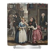 A Harlots Progress, Plate I Shower Curtain by William Hogarth
