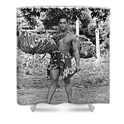 A Hawaiian With Coconuts Shower Curtain