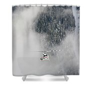 A Heli-ski Helicopter Flies Shower Curtain