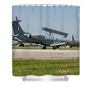 A Hellenic Air Force Emb-145 Awacs Shower Curtain