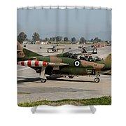 A Hellenic Air Force T-2 Buckeye Shower Curtain