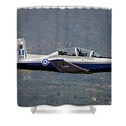 A Hellenic Air Force T-6 Trainer Flying Shower Curtain