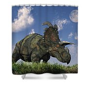 A Herd Of Albertaceratops Grazing Shower Curtain