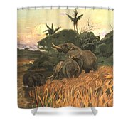 A Herd Of Elephants By Moonlight Shower Curtain