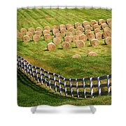 A Herd Of Hay Bales Shower Curtain