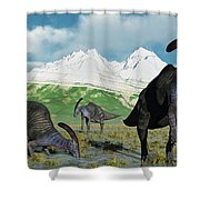 A Herd Of Parasaurolophus Dinosaurs Shower Curtain
