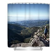 A Hiker Looks At The View Shower Curtain