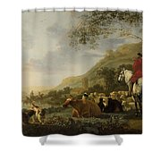 A Hilly Landscape With Figures Shower Curtain