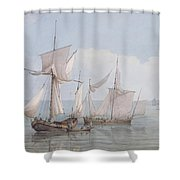 A Hoy And A Lugger With Other Shipping On A Calm Sea  Shower Curtain