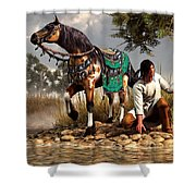 A Hunter And His Horse Shower Curtain by Daniel Eskridge