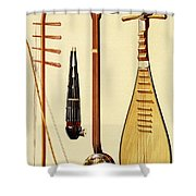 A Huqin And Bow, A Sheng, A Sanxian Shower Curtain by Alfred James Hipkins