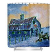 A John Deere Green Christmas Shower Curtain For Sale By Jerry Mcelroy