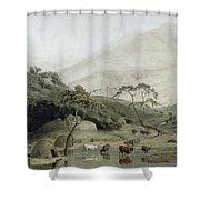 A Kaffir Village, C.1801 Wc & Graphite On Paper Shower Curtain