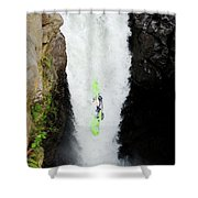 A Kayaker Takes The Plunge On Huge Shower Curtain
