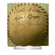 A Ken Boyer And Duke Snider Autograph Baseball Shower Curtain