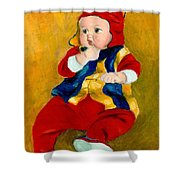 A Kid Wearing Two Cultural Traditions Shower Curtain