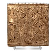 A King Carved In Wood Shower Curtain