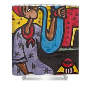 A King Messenger Blowing Flute Shower Curtain