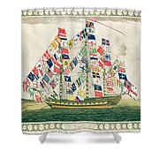 A King S Ship Dressed With The Colours Of Different Nations 6th October 1794 Shower Curtain