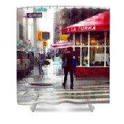 A La Turka In The Rain - Restaurants Of New York Shower Curtain