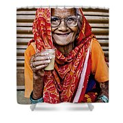 A Lady And Her Chai II Shower Curtain
