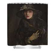 A Lady In Brown Shower Curtain